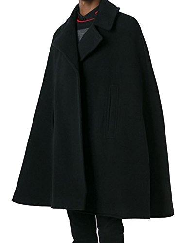 (ネルロッソ) NERLosso ポンチョ メンズ ケープ マント コート ボタン 軽い メルトン カジュアル ビジネス 防寒 ショート 正規品 170サイズ ブラック cml24124-170-bl