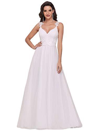 Ever-Pretty Vestido de Novia para Boda Largo para Mujer A-línea Escote en...