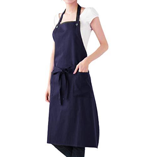 Kinnart Delantales de cocina ajustables, unisex, color sólido, impermeables, bolsillos de cocina, delantal de chef para el hogar, cocina, restaurante, azul marino