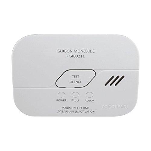 ELRO, Weiß FC4002 Kohlenmonoxid Melder-10-Jahres Sensor-nach EN50291-mit Prüftaste und Batterie Warnanzeige