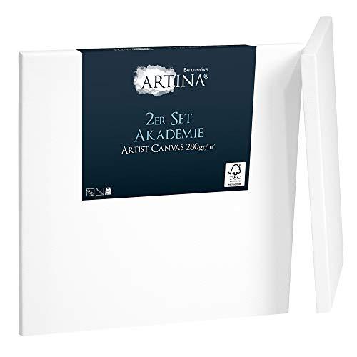 Artina Akademie 2er Set 80x80cm Leinwand aus 100% Baumwolle auf stabilem FSC® Keilrahmen 2-fach weiß vorgrundierte Leinwand zum Bemalen 280 g/m²