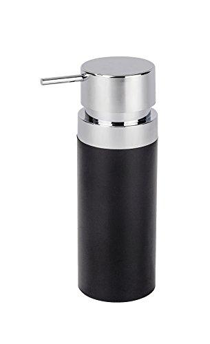 WENKO 22556100 Seifenspender Inca, Flüssigseifen-Spender, Spülmittel-Spender Fassungsvermögen: 0,3 l, Acrylnitril-Butadien-Styrol (ABS), 10 x 18,5 x 7 cm, schwarz