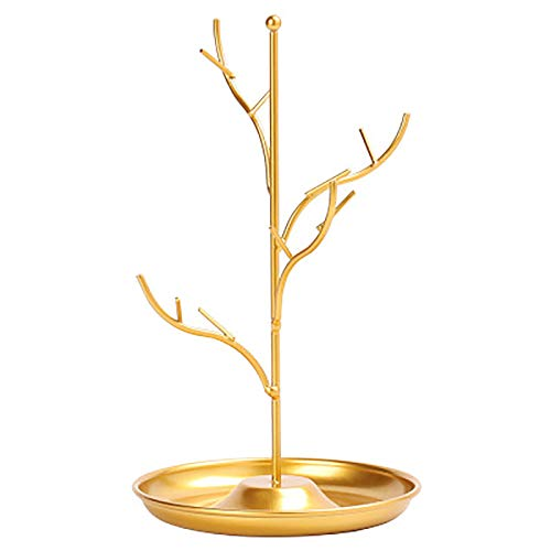 Pendientes de bandeja de hierro forjado en forma de árbol nórdico Collar de almacenamiento Pantalla de almacenamiento para pendientes Collares Pulseras,Oro