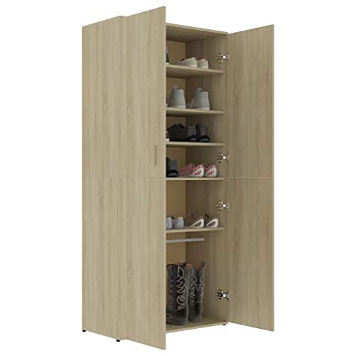 GOTOTOP Zapatero de 80 x 39 x 178 cm con 2 puertas, 6 estantes y una barra suspendida, de aglomerado, para entrada o dormitorio, color roble Sonoma