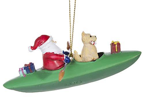 CapeShore Adorable Santa and Dog in Kayak Christmas Ornament