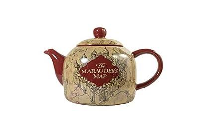seven20 Harry Potter Marauder's Map Ceramic Teapot, Standard Size, Burgundy