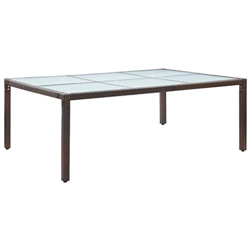 vidaXL Outdoor Dining Table Weather Resistant Furniture Garden Patio Tempered Glass Tabletop Desk Dinner Side Table Brown Poly Rattan