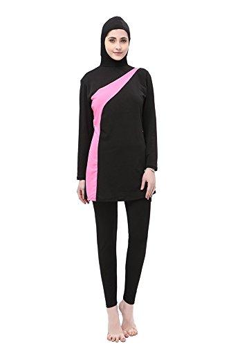 XFentech Femmes Musulmanes Maillot de Bain Modeste Couverture Complète Beachwear Islamique Burkini, Noir+Rose, EU XL=Tag 2XL