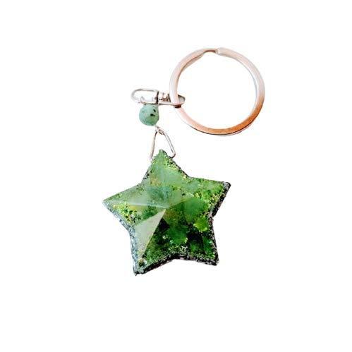Floresyabejas Llavero de orgón en forma de estrella de 5 puntas en tonos verdes, astillas de aluminio y una piedra semipreciosa llamada: Cuarzo Verde