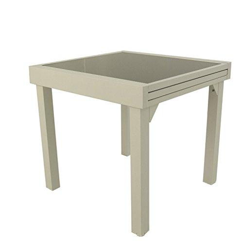 Mesa para jardin Extensible de 80 cm a 160 cm, Aluminio Color Blanco y Cristal Grueso Color taupe, Tamano: 80x80/160x76 cm