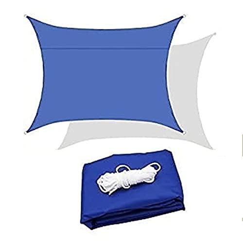 verande per esterno Blue Sunscreen Tenda da tenda da sole rettangolare, ombreggiatura all'aperto Piscina a vela impermeabile, giardino balcone terrazza panno ombra, tetto del prato in tessuto durevole