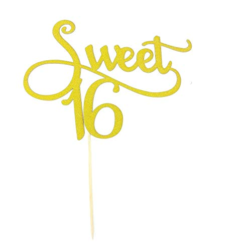 TooMeeCrafts Gold Monogram Sweet 16 Cake Topper 16th Birthday Anniversary Cake Topper For Sweet 16 Party Themes Decoration Pack of 2