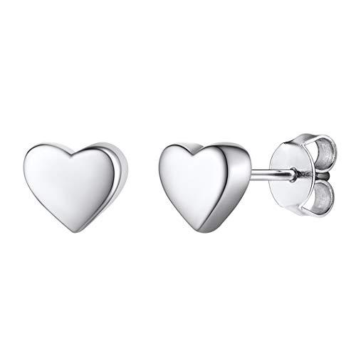 Silvora Pendientes de Plata con Corazón Pendientes Chicos de Tuerca Hipoalergénicos