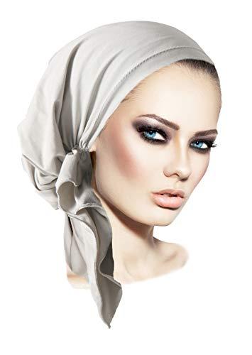 ShariRose Vorgebundene Baumwoll-Kopfbedeckung, Kopftuch für Chemokrebs und Tichel, freundlich, über 30 Farben. - Grau - Einheitsgröße