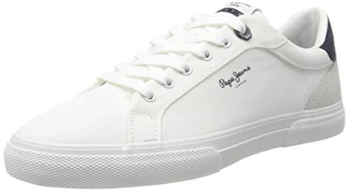 Pepe Jeans Kenton Classic Twill, Zapatillas Hombre, 800 Blanco, 42 EU