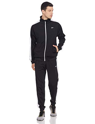 Reebok MYT Tracksuit Long sleeve Slim Fit Tracksuit, Black,Large