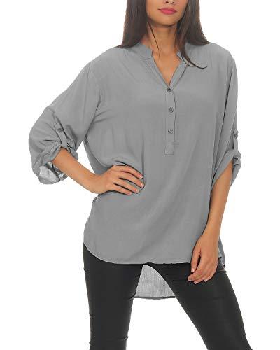 ZARMEXX losjes vallende viscose blouse hemdblouse 3/4 arm - Fischerhemd loose fit lichte blouse tuniek één maat (38-42)