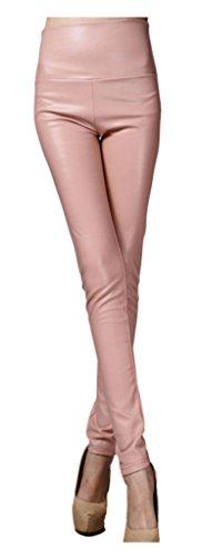 Lotus Instyle dick Hohe Taille Kunstleder Leggings Frauen Lederhose-Pink M