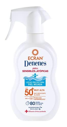 Ecran Denenes - Spray de Leche Solar Protectora SPF 50 para Pieles Sensibles y Atópicas, Pieles Mojadas, 80 Minutos de Duración - 300 ml