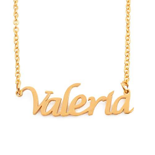 KL Kigu Valeria Vergoldet Namenskette Personalisiert Damen Halskette Mit Namen Fashion Schmuck Geschenk Fur Freundin Mutter Schwester