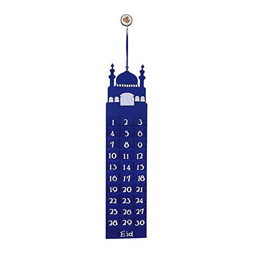 Dainzuy Filz Ramadan Kalender,Eid Mubarak Countdown Hängende Filz, 30 Tage Eid Mubarak Adventsdekorationen für zu Hause,Kalender Muslim Islamische Adventskalender 2021 Ramadan Dekorationen