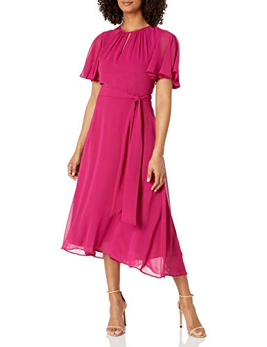 Tahari ASL Women's Ruffle Sleeved Hi-Low Dress Cocktail, Fuchsia, 16
