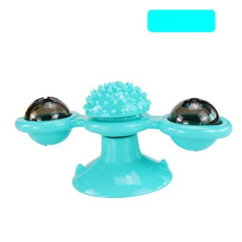 DEKA.O84 Interactive Puzzle Katzenspielzeug, Katzenwirbelspielzeug mit Saugnapfboden Tragbare Plattenspieler-Windmühle, die das Haar kratzt und reibt (Blau)