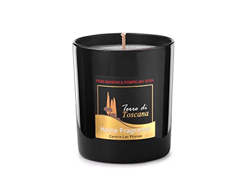 Signature Scented Candle Black Glass Soy Wax in Gift Box Package for Air Clean and Body Relaxation 30 hours Burn Fine Ideal for Anniversary, Birthday (White Flowers & Pink Grapefruit)
