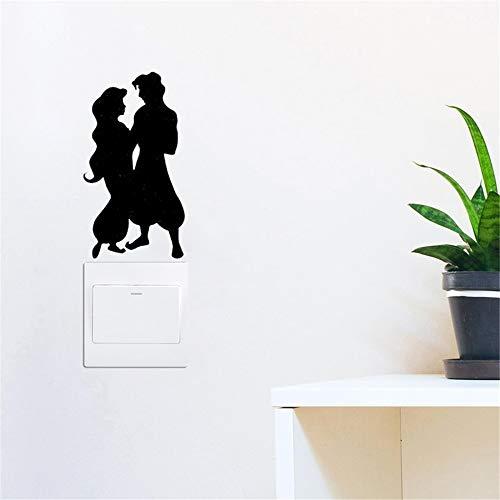 Schoonheid en het Beest Vinyl Decal Assepoester en Prins Charmante Schakelaar Panel Sticker voor Wanddecoratie DIY DIY