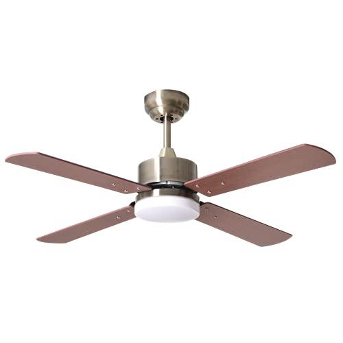 BEL AIR HOME - Ventilatore da soffitto motore DC con luce LED integrata da 18 W (3000 K, 4000 K, 6500 K) Serie KARABURU Color Nichel con 4 pale (ciliegio)