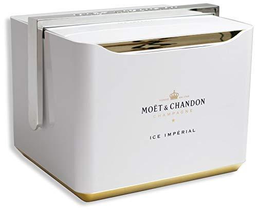 Moet & Chandon Ice Imperial Festival Kühler Geschenk Set mit Eisbox, 2 Champagner Flaschen und 6 Gläser (weiß) - Limited Edition (2 x 0.75 l)