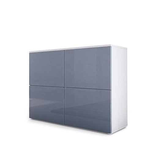 Vladon Kommode Sideboard Rova, Korpus in Weiß matt/Türen in Grau Hochglanz und Grau Hochglanz