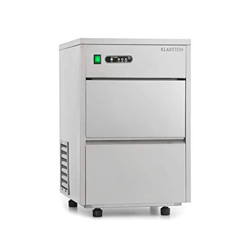 Klarstein Frostica Edelstahl Eiswürfelmaschine für Gastro mit Kompressor und Wasseranschluss - Flocken Eiswürfelform, 20kg Eis pro Tag, 3,5 kg Eisfach, ideal für den professionellen Einsatz, silber
