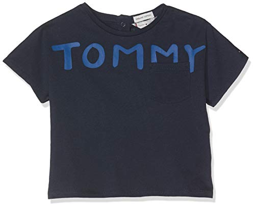 Tommy Hilfiger Bold Text Grown On S/s tee Camiseta, Azul (Black Iris 002), 92 para Bebés