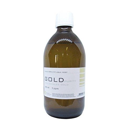 Kolloidales Gold 500ml | 2ppm Flasche Braunglas Originalitätsverschluss pure