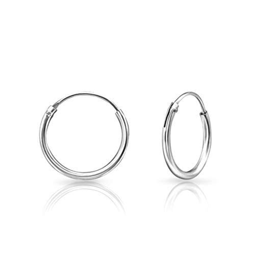 DTPsilver 925 Sterling Silver SMALL Hoops/Sleepers Earrings - Thickness 1.2 mm - Diameter 14 mm