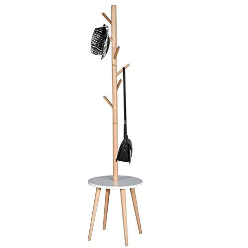 Bakaji garderobelijst van hout met 6 haken, kledinghaken en tafel afmetingen 40 x 40 x 170 cm