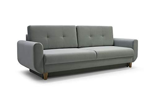 mb-moebel Modernes Sofa Schlafsofa Kippsofa mit Schlaffunktion Klappsofa Bettfunktion mit Bettkasten Couchgarnitur Couch Sofagarnitur 3er Saphir (Mint)