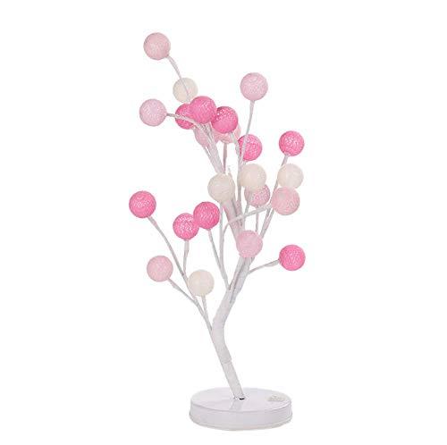 24Led Coton Boule Arbre en Pot décoratif lumières Chambre à Coucher décoration atmosphère Nuit lumière Multicolore Bureau Boule avec Perles LED lumière électrique Plug Nuage,Pink