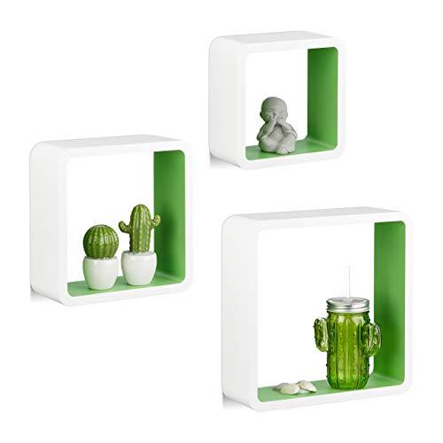 Relaxdays Hängeregal Cube 3er Set, Wandboard freischwebend, Wandregal Holz, quadratisch, schmal, MDF, Würfel, weiß/grün