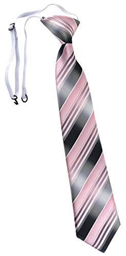 TigerTie Kinderkrawatte in rosa hellrosa silber anthrazit grau gestreift - Krawatte vorgebunden mit Gummizug
