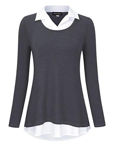 GloryStar Women's Long Sleeve Contrast Collared Shirts Patchwork Work Blouse Tunics Tops Long Sleeve Dark Grey XL