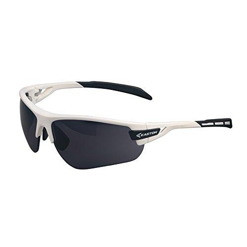 EASTON FLARE Sunglasses with interchangeable Lenses | 2020 | White / Black | Ergonomic + Flexible Frame Tough Enough for Baseball / Softball On Field Plays | Extra Yellow Lens For Overcast Weather