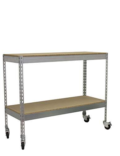 Estantería metálica para taller con bandejas de madera y r