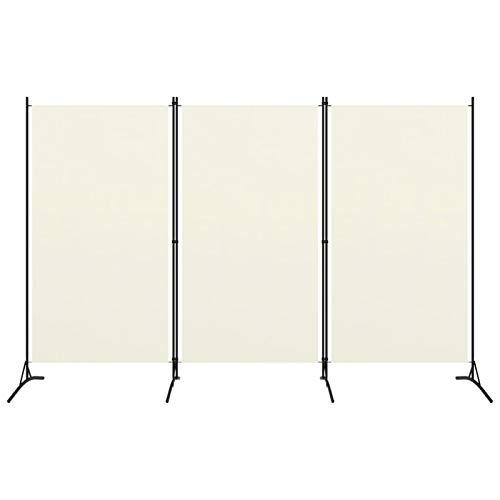 Tidyard 3-TLG. Raumteiler Trennwand Paravent Wand 260 x 180 cm -Cremeweiß