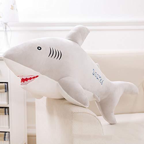 Handmassage-Stick Suave Océano Animal de Peluche de Juguete Abajo Almohada de algodón Simulación Tiburón Delfín Muñeca Regalo de cumpleaños 55/65/85/100 cm ( Color : Gris Claro , Size : 85cm )