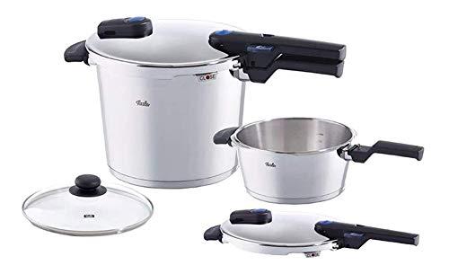 Fissler vitaquick Pressure Cooker & Frypan Set with Lid, Induction, 8.4 Quart, 4.2 Quart, Steel