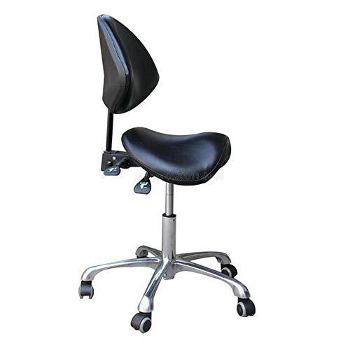 MEICHEN Standard Dental Mobile Stuhl Sattel Arzt Hocker PU-Leder-Zahnarzt-Stuhl Spa Rollhocker mit Rückenstütze für Schönheit,Schwarz
