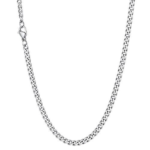 Richsteel Herren Kette 3mm breit 55cm Kubanische Kette aus Edelstahl Panzerkette Halskette in Silber für Frauen und Männer