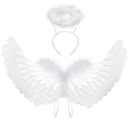Angel Wings and Halo Adult White Angel Wings for Kids Party Costume Children's Boys Girls Halloween Xmas Gift